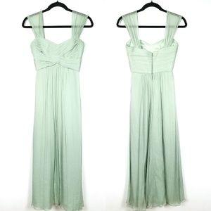 Amsale Silk Chiffon Sage Green Off Shoulder Dress
